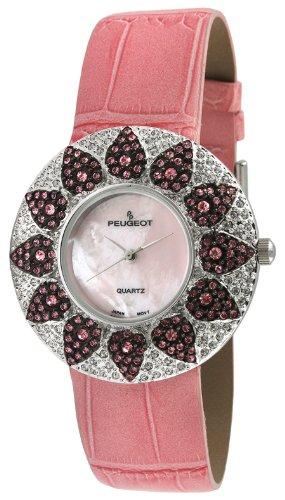 Peugeot Women's J1450PK Pink Swarovski Crystal Round Case Pink Strap Watch