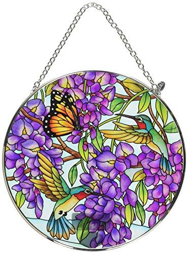 Amia 42616 Wisteria Large Glass Circle Sun Catcher, Multicolor