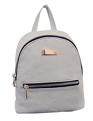 Fashion Shoulder Bag PU Leather Backpack Travel Daypack,Women Girls Backpack School Travel bag (Grey)