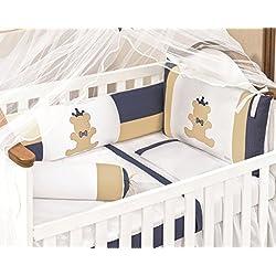 Teddy Bear Themed Blue and White Baby Boys 10pcs Nursery Crib Bedding Set