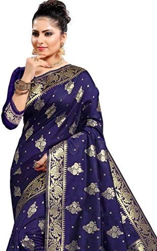 Krishna Sarees FAS20073 Navy Blue and Gold Indian Bollywood Pakistani Designer Party Wedding Faux Art Silk Banarasi Sarees Sari -with Unstitched Blouse