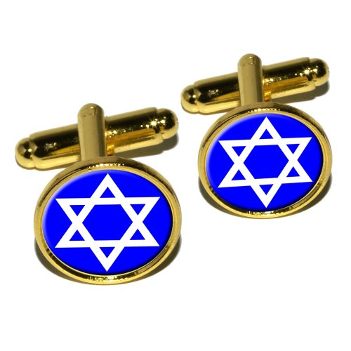 (Star of David - Shield Jewish Round Cufflink Set - Gold)