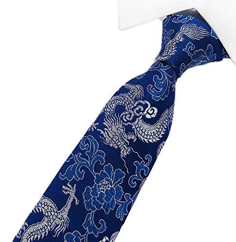 Secdtie Mens Classic Tie Dragon Paisley Jacquard Woven Necktie Blue silver L14