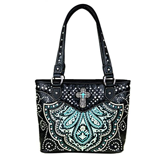 MW443-8014 Montana West Cross Spiritual Collection Tote Bag Handbag (Front Pocket Tall Tote Handbag)