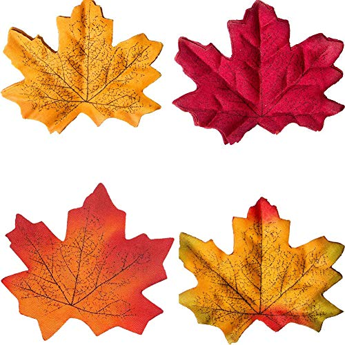 Jashem Artificial Leaves for Thanksgiving Decoration 200 Pieces Artificial Maple Leaves Fall Theme Decorations for Thanksgiving Home Autumn Wedding Party Decor Outdoor Indoor (200 Pieces) -