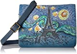 Anuschka Anna Handpainted Leather Medium Saddle Crossbody-Love in Paris