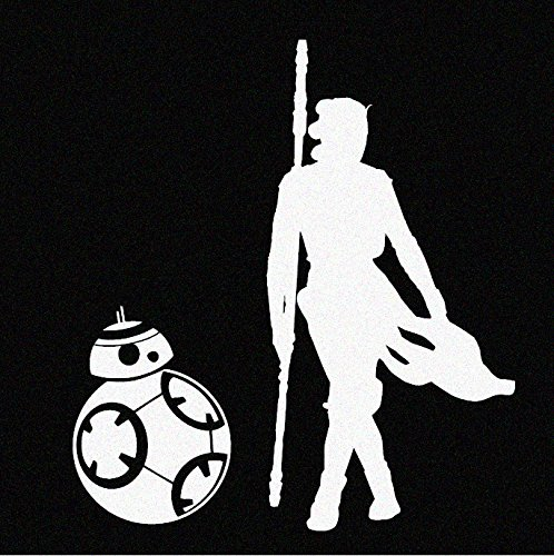 Rey and BB8 (Star Wars Inspired) - White Vinyl Decal