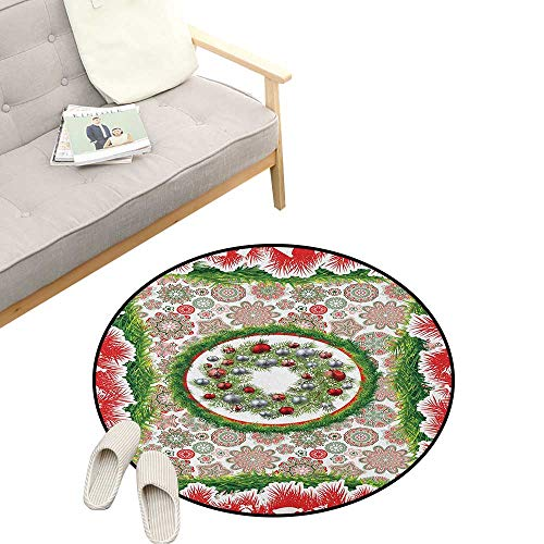 Christmas Round Rug Living Room ,Fir Tree Wreath with Vivid Bauble Figures Ornate Flowers Bells Presents Print, Bedrooms Laundry Room Decor 39