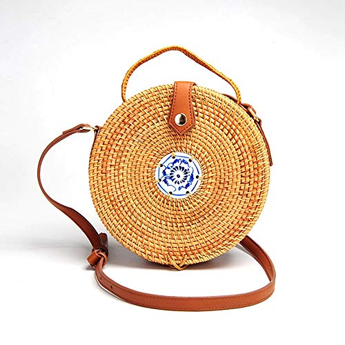 (Zzyff Hochwertig Hand-Woven Vine Bag Round Crossbody Bag Fashion Beach Bag PU Shoulder Strap Adjustable Length Blue and White Porcelain Decoration Durable (Color : Brown) )