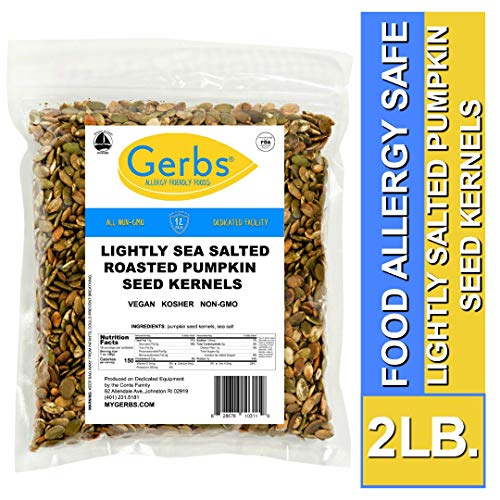 (Gerbs Lightly Sea Salted Pumpkin Seed Kernels, 2 LBS. - Top 14 Food Allergy Free & NON GMO - Vegan & Kosher - Dry Roasted Premium Quality Seeds)