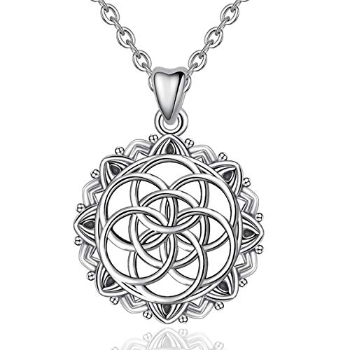 CELESTIA Celtic Knot Necklaces, Seed of Life 925...