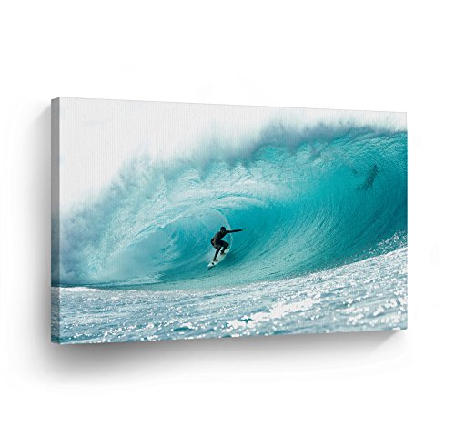 Surfing Guy (Canvas Print Decorative Art Ocean Big Giant Wave Surfing Guy Men Modern Wall Décor Artwork Wrapped Wood Stretcher Bars Vertical- Ready to Hang - %100 Handmade in the USA SURF1_812)