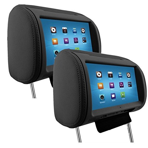 Iseebiz 9 inch Digital TFT LED Full Touch Screen Screen Pillow Headrest Car DVD Player Pack of 2