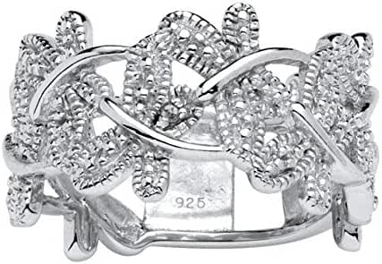 White Diamond Accent Platinum over .925 Sterling Silver Butterfly Ring