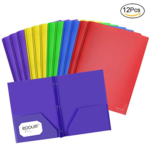 EOOUT 12pcs Letter Size 2 Pockets Poly Portfolio Folder with 3 Prong Fasteners, Heavy Duty Folder, 5 Colors
