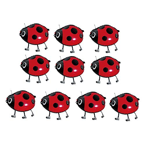 xxiaoTHAWxe 10Pcs Cute Walking Beetle Aluminum Foil Balloons Birthday Party Decor Kids Toy - Black+ Red ()