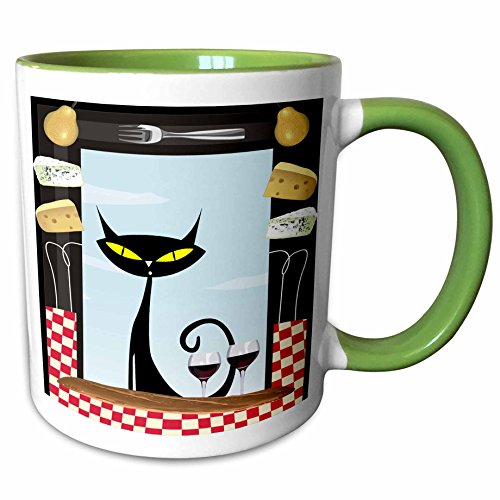 3dRose Spiritual Awakenings Cats Animals - Gourmet food frame cheese, checkered table cloth, wine glasses and a black fancy cartoon cat - 15oz Two-Tone Green Mug (mug_128912_12) ()