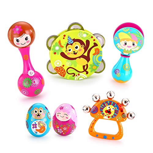 VATOS Musical Instruments for Kids Toddlers,Musical Infant Toy Baby Toy, 6PCS Baby Drum Rattle Maracas Castanets Egg Shaker,Toddler Musical Toys Sets,Best Baby Gift for 3, 6, 9, 12 Month Infants Kids