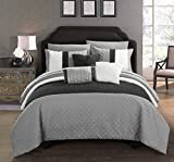 Chic Home Osnat 8 Piece Comforter Set Color Block Quilted Embroidered Design Bag Bedding – Sheets Decorative Pillows Sham Included, Twin, Grey