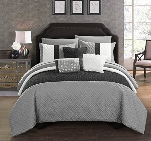 Chic Home Osnat 10 Piece Comforter Set Color Block Quilted Embroidered Design Bed in a Bag Bedding – Sheets Decorative Pillows Shams Included, Queen Grey (Quilted Blocks)