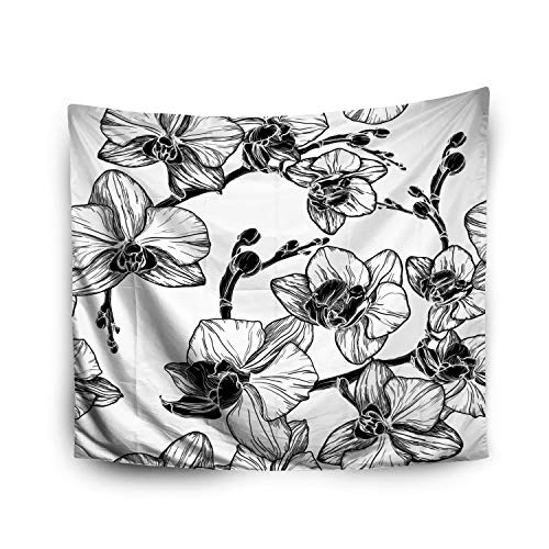 (Jacrane Tapestry Wall Hanging with 50x60 Inches Halloween Black White Pattern Orchid Flowers Art Tapestries for Bedroom Living Room Home Decor Wall Hanging)
