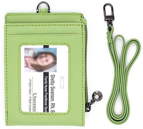 Green Card Bill - Genuine Leather Bifold ID Badge Window Holder Card Neck Strap Wallet Bill Money Case Zipper Landyard Women (Green)