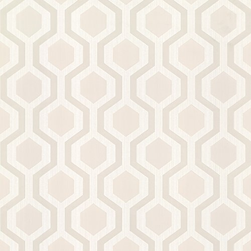 Beige Geometric Wallpaper - Brewster 347-20134 Marina Modern Geometric Wallpaper, Beige