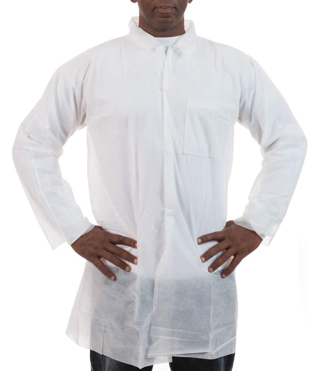 Polypropylene Lab Coat (White) with One Chest Pocket and Open Wrist, Labs, Dental, Medical (3XL, Case of 50)