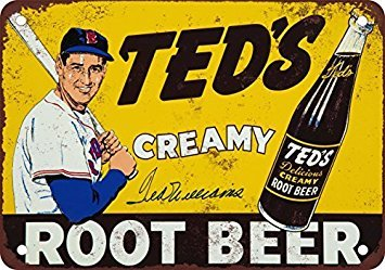 Ted Williams for Ted's Root Beer Vintage Look Reproduction Metal Tin Sign 12X18 Inches (Root Beer Tin)