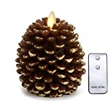 NONNO&ZGF LED Pine Cone Candles: 3.5'' x 4'' Unscented Battery Operated Flameless Candles with Timer (Brown),with Moving Wick
