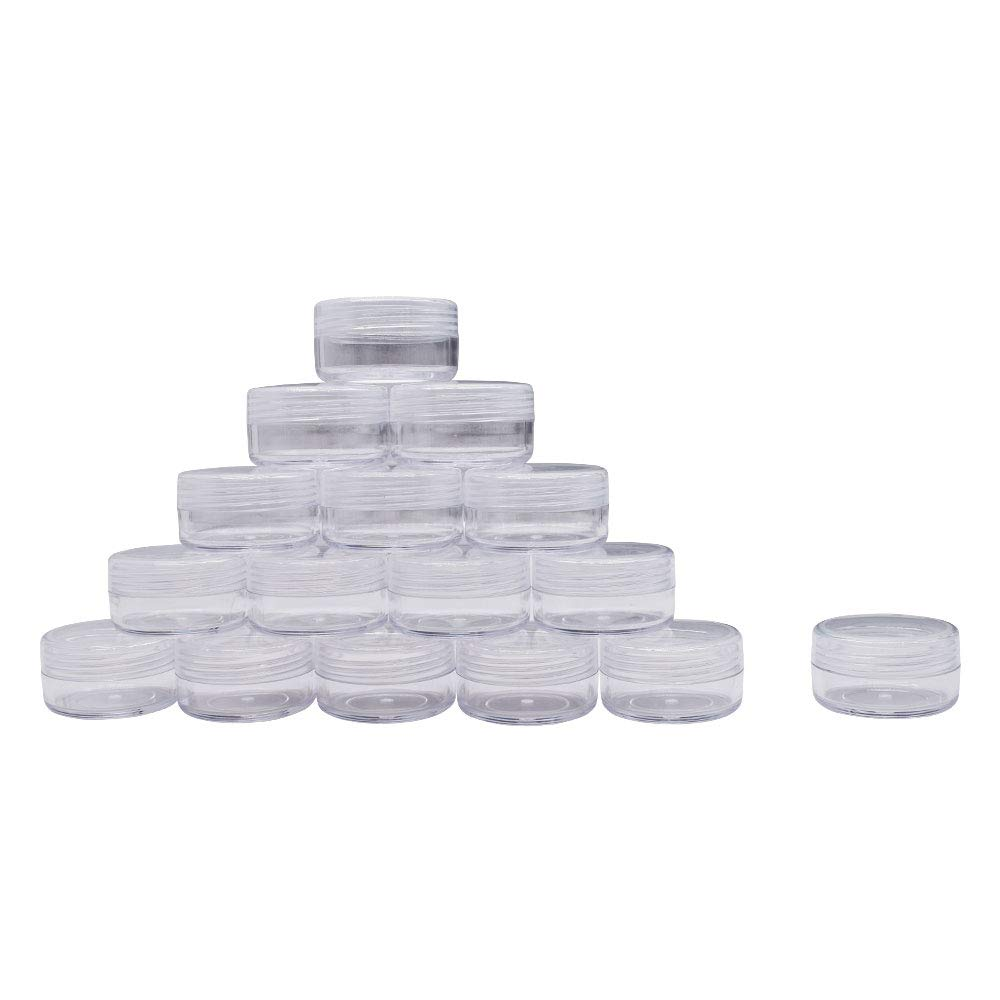 100 Pieces 10 Gram Empty Plastic Cosmetic Containers, Clear Round Sample Pot Jar Screw Cap Lid, For Lip Balm, Eye Shadow, Nail Powder, Creams, Lotions-BPA Free
