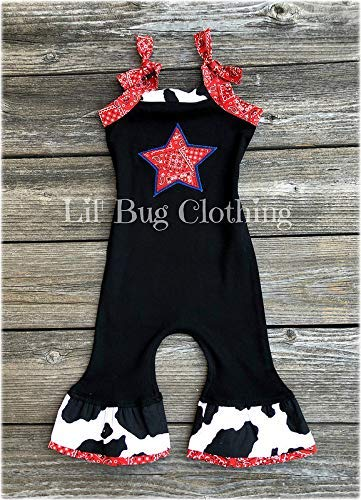 (Western Wear Toddler Romper- Farm Girl Clothes- Red Bandana Print Girl Outfit)