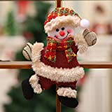 Kimanli Christmas Santa Claus Snowman Reindeer Toy Doll Party Ornaments Christmas Tree Hanging Decor Gifts Hot ! (A(2Pcs))