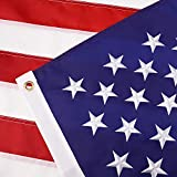 Leimaq American Flag 3x5 ft- Durable 210D Nylon US Flag Outdoor Made in USA with Sewn Stripes, Embroidered Stars and Brass Grommets (3x5 ft)