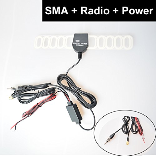 E-KYLIN Car Automobile TV Radio FM Antenna Signal Amplifier Booster Digital TV DVBT ATSC ISDB Analog for Car Dash DVD GPS Car Stereos Head unit - SMA + Raido Plug