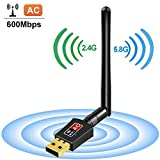 Flenco Wifi Dongle AC 600Mbps Dual Band (2.4 GHz 150Mbps, 5GHz 433Mbps) High Speed Wireless USB Wifi Adapter With Antenna for PC / Desktop / Laptop / Tablet, Supports Windows 10/8/7/Vista/XP/2000, Mac Os X 10.4-10.11
