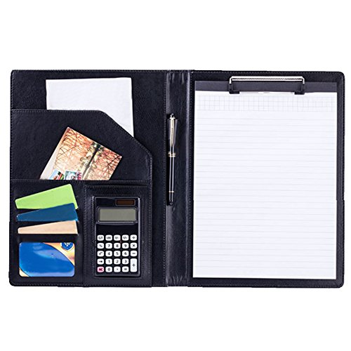 MyLifeUNIT Clipboard Folder, Business Conference File Folder, Letter Size Clipboard Storage with Refillable Notepads (Black) by MyLifeUNIT