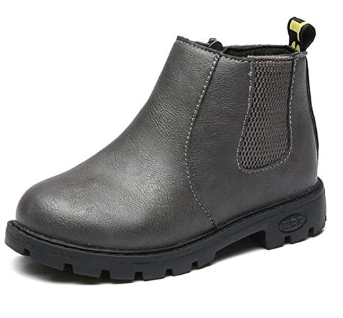 Bumud Kid Boy's Girl's Leather Waterproof Pull-On Martin Boot Winter Warm Shoes