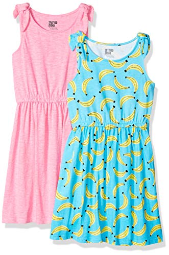 Spotted Zebra Toddler Girls' 2-Pack Knit Sleeveless Knot Shoulder Dresses, Banana/Pink, 4T