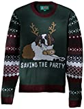 Ugly Christmas Sweater Mens Light-up-Saving The Party Sweater