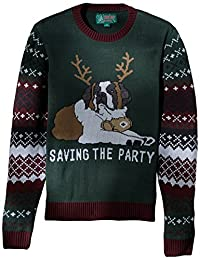 Ugly Christmas Sweater Mens Light-up - Saving The Party Sweater Suit Jacket