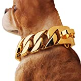 MUJING 32 mm Wide Hip Hop Gold Tone Cut Curb Cuban Link 316L Stainless Steel Dog Choke Chain Collar 40-70CM,F