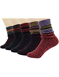 Women's Lady's 5 Pack Vintage Style Cotton Crew Socks