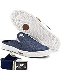 Kit Babuche Slip On Mule Polo Joy Com Cinto Casual