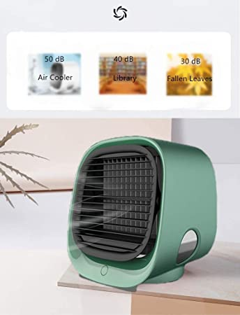Air Cooler YOMERA Portable Conditioner Fan 3 in 1 with USB Port Compact 7 Colors LED Night 3 Speeds Desktop Cooling Fan for Office Home Dorm Travel Outdoor Travel Summer Rose