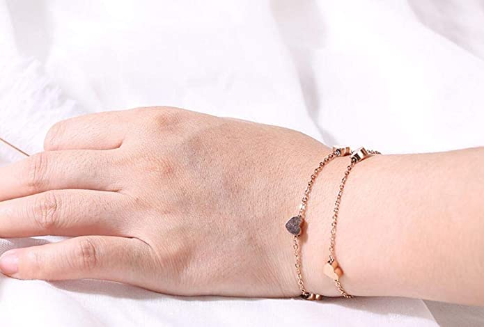AZYOUNG Womens 316L Stainless Steel Rose Gold Lucky Star Pendant Anklet,21+4cm