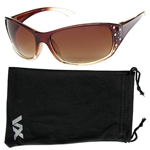 Vox Women's Sunglasses Designer Sport Fashion Rhinestones – Amber & Clear Frame – Amber - I Eyewear Love