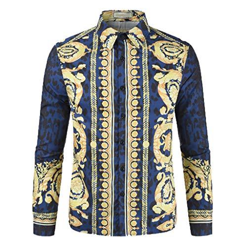 Men's Long Sleeve Button Down Shirts Floral Dress Shirt Slim Fit Casual Fashion Luxury Printed Shirt (3XL, ()