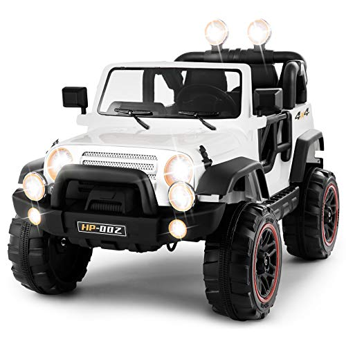 Vosson Kids Jeep Car 12V Power Electric Kids Car Kid Ride On Car Children Electric Car with Remote Control and Battery (White)