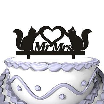 meijiafei tarta de Boda Topper- Script Señor Señora con dos gatos decoración de pasteles: Amazon.es: Hogar